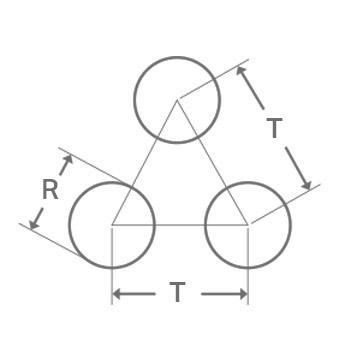 Reikälevy pyöreä reikä R kolmiojako T