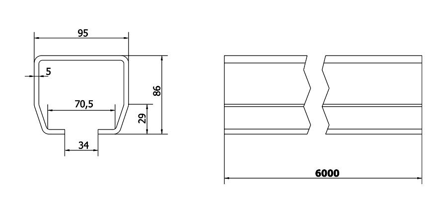 Cais C-profiili liukuoville ja liukuporteille. 73mmx61mm ainevahvuus 3,5mm