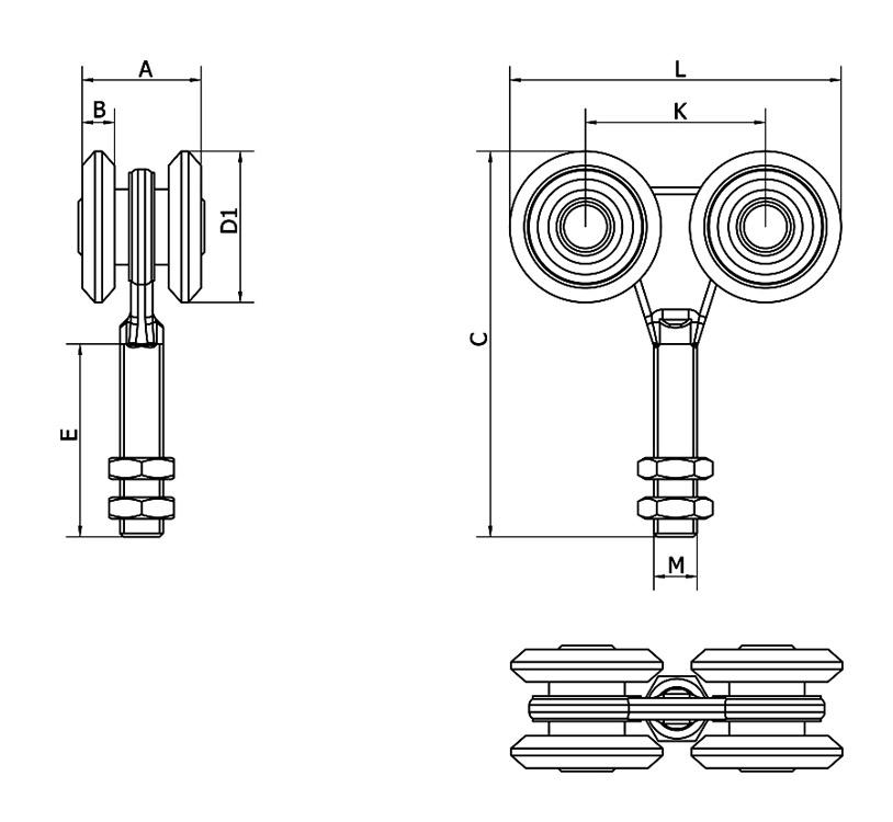 Cais Kiskosarjan nelipyöräinen suljetun laakerin pyörästö