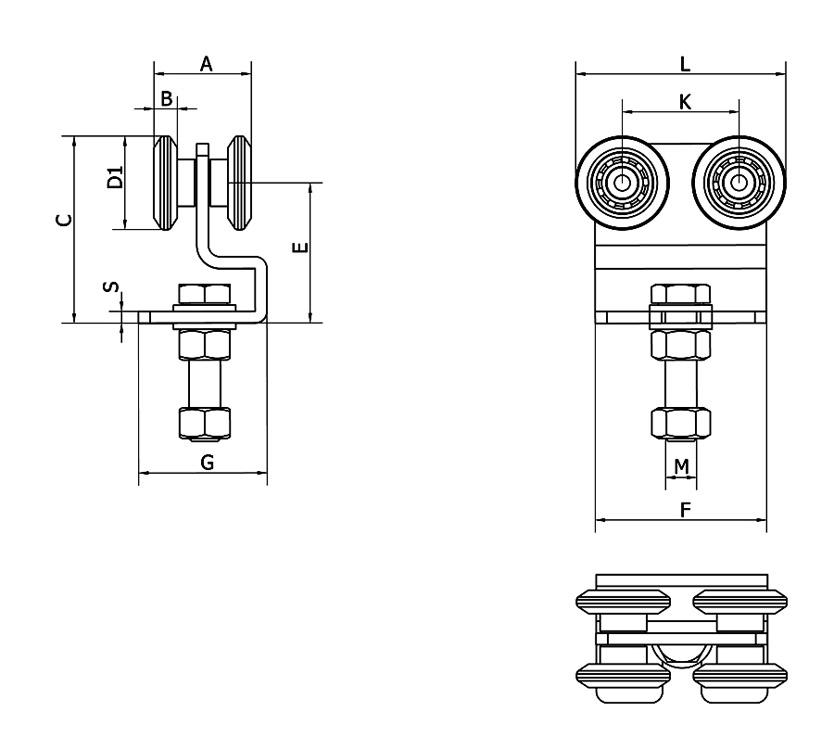 Cais - avoimen laakerin nelipyöräinen pyörästö kevyisiin liukuoviin