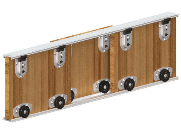 Valcomp Ares 2 liukukiskojärjestelmä kaapeille - kolme paneelia